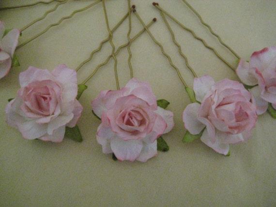 Pale Pink Rose Hairpins x 8. Paper. Wedding, Bridal, Regency, Victorian
