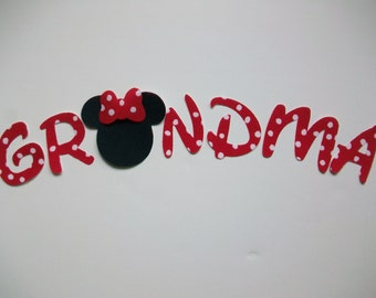 GRANDMA - DIY No-Sew - Minnie Mouse Applique - Iron On