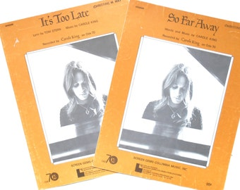 It's Too Late and So Far Away, Vintage Carole King Sheet Music, 1971