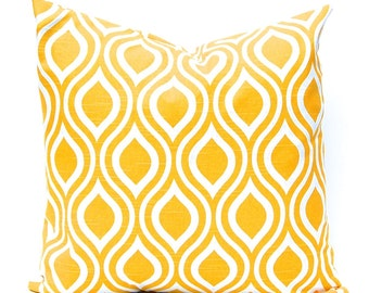 One Yellow Pillow Cover - Throw Pillow Cover - Yellow and White Cushion Cover - Yellow Bedding - Yellow Decor - One Yellow Pillow Sham