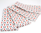 READY TO SHIP! Cloth Napkins 15 Inch Set of 4 in Contemporary, Modern, Geometric, Mod Red White Grey