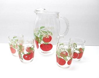 Vintage Tomato Juice Pitcher Set