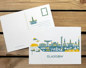 Glasgow Skyline mini print or postcard