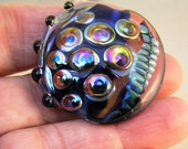 Night and Day Lentil Silver Glass Focal Bead  Handmade Lampwork focal SRA UK FHFteam Y3