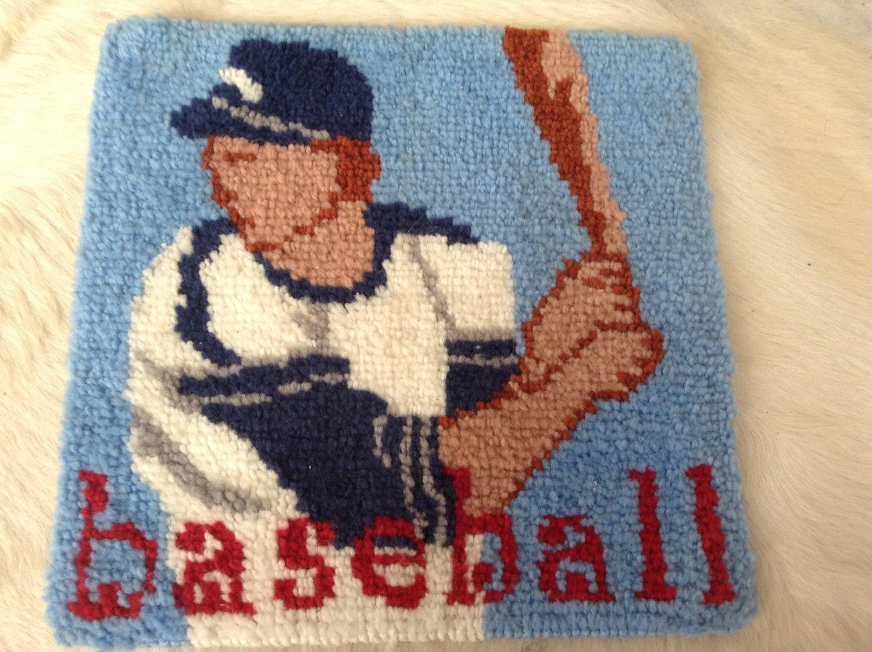 Vintage Baseball Latch Hook Rug