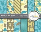Beach Digital Paper, Beach Digital Backgrounds, Beach Scrapbook Paper, INSTANT DOWNLOAD, Commercial Use