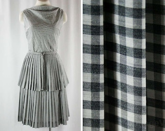 Size 4 Black Gingham Dress - Summer Sleeveless Frock - 1950s Cotton Blend - Girl Next Door - Pleated Tiered Skirt - NWT - Waist 25 - 44056
