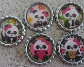 5 x Cute Panda Inspired Flattened Silver Bottle Caps - Great for Jewellery, Cards, Keyrings