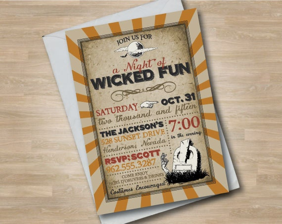 Vintage Retro Spooky Halloween Invitation, Wicked Fun Halloween Invite, Printed or Digital Halloween Party Invitation, Vintage Style