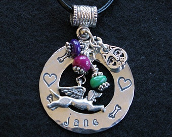 Personalized Flying Angel Dog Necklace with Custom Bead Colors