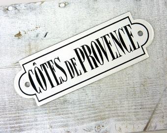 Vintage Cotes De Provence Sign French Black & White Enamel Plaque-Signage