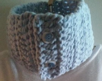 Thick and Chunky Crocheted Cowl Scarf - Sky Blue With 2 Beautiful Buttons