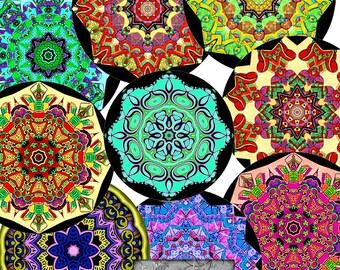 NEW 1.5 Inch Digital Circles, Two Sheets, Mandalas, Kaleidoscopes, Digital Collage Sheets,  Digital Art, Printable Download, CS 358