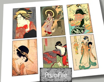 Printable Digital Collage Sheet - ACEO Size - Asian Art - Digital Art - Instant Download - Vintage Geisha Images  12 Images  ACEO 22