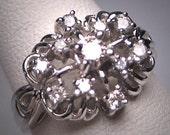 Antique Diamond Wedding Ring 14K White Gold Retro Art Deco Vintage 50s