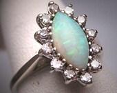 Antique Australian Opal Diamond Wedding Ring White Gold Vintage Deco