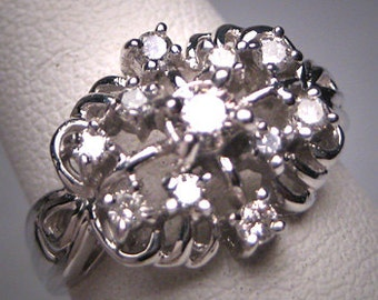 Antique Diamond Wedding Ring 14K White Gold Retro Art Deco Vintage 50s