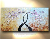 CUSTOM Art Abstract Painting White Cherry Tree Painting Blossoms Flowers Textured Palette Knife Blue White Brown OTO