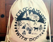 Dogs Camping  Drawstring Cinch Sack