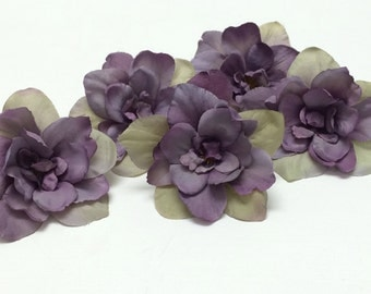 Silk Flowers - 5 Delphinium Blossoms in Purple Accented With Khaki Beige - 3 Inches - Artificial Flowers