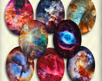 Universe Ovals 30 x 40 mm Printable Instant Download Digital Collage Space Stars Galaxy Pendant Images Buttons Magnets