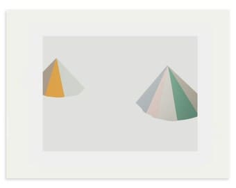 large abstract screenprint in muted colours by Emma Lawrenson