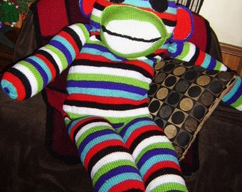 Giant Sock Monkey, knitted sock monkey, striped sock monkey, giant stuffed animals,novelty gift, unique, more colors available, knitting