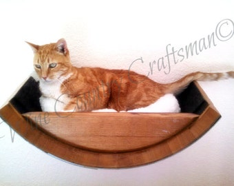 Cat Bed - BIRALA - Wine Barrel  Wall Hanging // Pet Supplies // Cat Shelves // Wall Perch //  Oak Wood // Animal Lovers