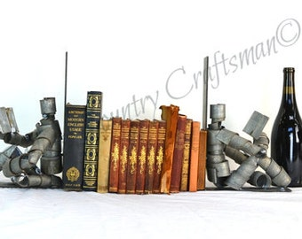 "WINE BOT - ""Relaxing with a Good Book"" -  Reading Wine Barrel Bookends - 100% Recycled"