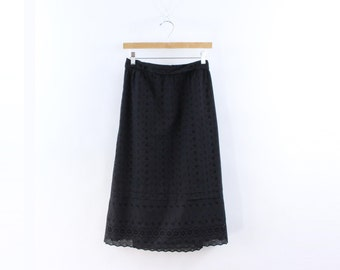 VINTAGE 1970s Eyelet Skirt Black Cotton