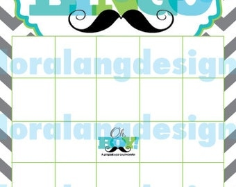 Digital Printable Little Man Baby Shower Bingo Cards INSTANT DOWNLOAD