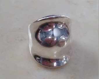 Vintage Sterling Silver Ring Abstract Hand Made Signed 1980s Rounded 925