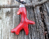 Large Red Coral Branch Pendant. Oxidized Copper And Red Coral Pendant. Coral Bamboo Pendant. Red Coral Necklace.