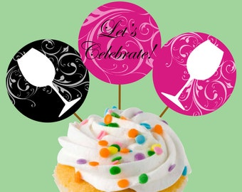 Instant Download Wineglass Swirl Cupcake Toppers or Craft Circles