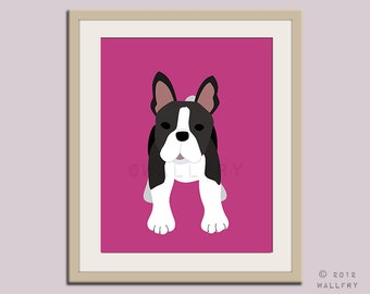Boston Terrier print puppy dog nursery decor. Dog nursery print. Art for children, kids decor. Custom dog art for kids. Art print by WallFry