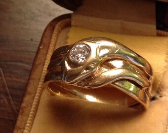 Solid 14 k gold diamond snake ring size 10
