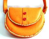 Saddle bag, orange, red, floral trim, round cross body bag, mini satchel