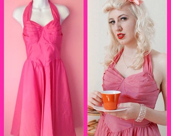 Vintage 1980s Does 1950s Pinup Party Prom Hot Pink Dress
