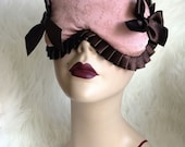 Dusky Pink brocade sleepmask with chocolate ribbon trim - Envy - limited - Love Me Sugar