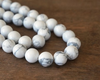 10mm white howlite beads, round bead, natural gemstone, full & half strands available  (1108S)