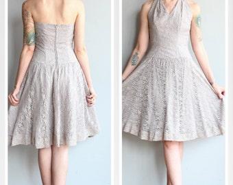 1950s Dress // Lavender Storm Dress // vintage 50s lace halter dress