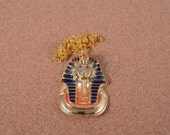 Large Amazing Egyptian Golden Enameled Famous Tutankhamun Mask Necklace
