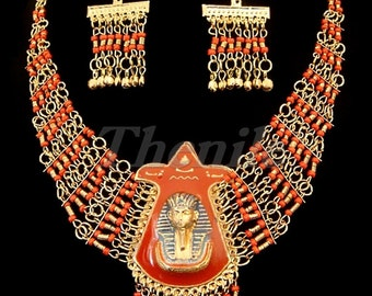 EGYPTIAN RED NECKLACE & Earrings With  King Tutankhamun