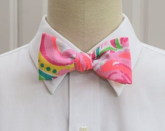 Men's Lilly Bow Tie in multi All Nighter pinks and greens, self-tie bow tie, groomsmen's gift, wedding party wear, formal menswear