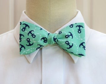 Men's Bow Tie in mint with navy anchors, self tie, nautical bow tie, sailor gift bow tie, sailor's wedding bow tie, ocean lover bow tie,