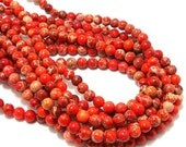 Impression Stone, Bright Orange, 6mm, Round, Smooth, Gemstone Beads, Small, Full Strand, 65pcs - ID 2052