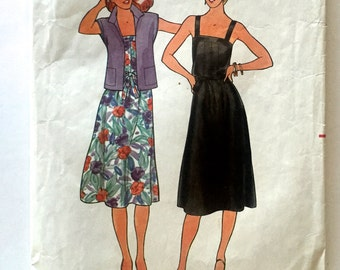 80s Butterick 652 Sun Dress Flared with Square Neckline and Blouse Jacket and Belt Size 10 Bust 32