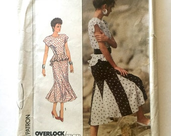 80s Simplicity 8555 Peplum Top with Flared Gored Skirt, Sherry Holt - Size 6 8 10 Bust 30 31 32