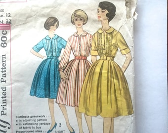 60s Simplicity 3796 Full Skirt Dress with Neckline Interest and Collar - Size 12 Bust 32