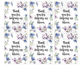 IMMEDIATE DOWNLOAD- Bloom Thank you Gift Giving Labels-Printable PDF